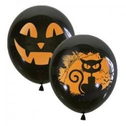 "M 12""/30см Декоратор (шелк) BLACK 2 ст. рис Хэллоуин 50шт шар латекс"