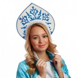 "Кокошник на ободке ""Снежинка"" цвет синий"