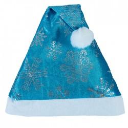 """Колпак новогодний """"Блестящие снежинки"""" синий 28*40 см 3555276"""