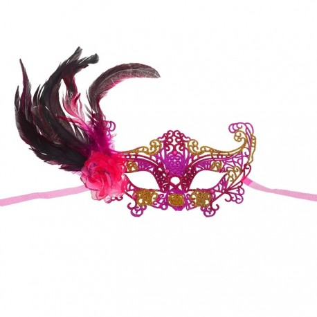 """Карнавальная маска """"Узор"""" с пером, цвет розовый 3542204"""