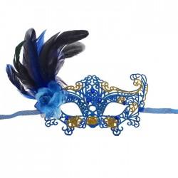 """Карнавальная маска """"Узор"""" с пером, цвет синий"""