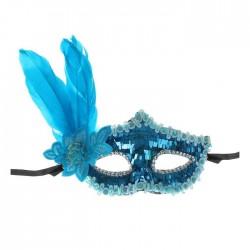 """Карнавальная маска """"Леди"""" с пером, цвет голубой"""