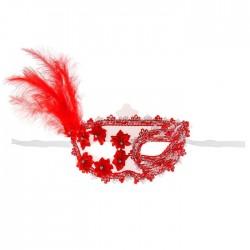 """Карнавальная маска """"Загадка"""" с пером, цвет красный 2311743"""