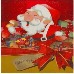 """Салфетки бумажные (набор 20 шт) 33*33 см """"Дед Мороз"""" с бантиком 1382213"""