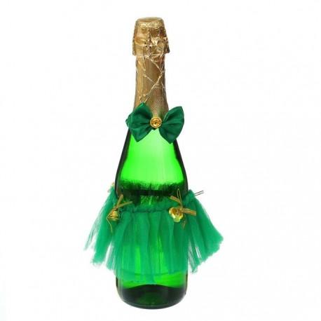 Одежда на бутылку, набор 2 предмета: юбочка, бантик, цвет зеленый 1380413