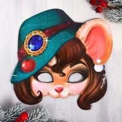 """Маска новогодняя """"Мышка в шляпе"""", 23 х 22,7 см"""