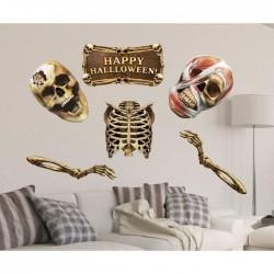 "Набор для оформления Хеллоуина ""Скелеты"", 6 предм., 21 х 21 см 2268645"