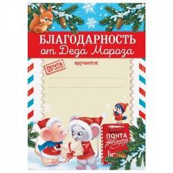 """Благодарность новогодняя с символом года """"От Деда Мороза"""", 21х29,5 см 4457729"""