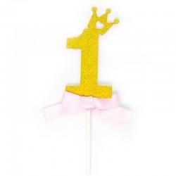Топпер в торт, Цифра 1 (корона), Золото, 1 шт.