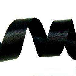 Лента Атлас Черный / 7 мм * 22,85 м (Китай)
