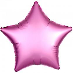 Шар Звезда Розовый Сатин Люкс 46см