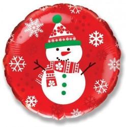 Шар Круг Снеговик на красном фоне 45см