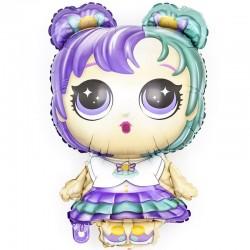 Шар с клапаном (14''/36 см) Мини-фигура, Модная кукла (разноцветные локоны), 1 шт.