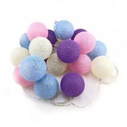 """Светодиодная гирлянда """"Хлопковый шар"""" Молочный, фиолетовый, розовый, светло-голубой / 3м, 20 шаров н"""