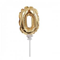 Шар фольга самодув Цифра 0 Gold 18см шар фольга