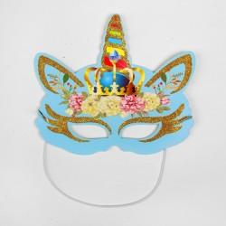 """Карнавальная маска """"Единорог"""" голубая"""