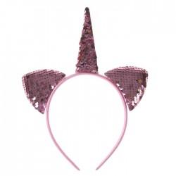 """Карнавальный ободок """"Единорог"""" с паетками, цвет розовый 3544620"""