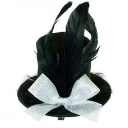 WB Шляпка заколка черная с перьями