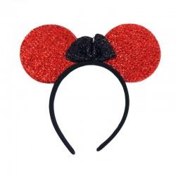 Ободок «Мышка» Красный с бантиком