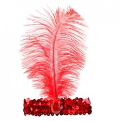 Повязка на голову с пером, цвет красный 2489690