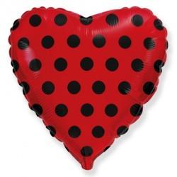 Шар Сердце Чёрный горох на красном 46см