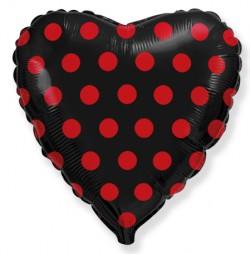 Шар Сердце Красный горох на чёрном 48 см