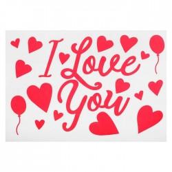"""Наклейка на полимерные шары """"Я тебя люблю"""", сердца, цвет красный"""