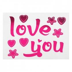 """Наклейка на полимерные шары """"Я тебя люблю"""", звезды, цвет розовый"""
