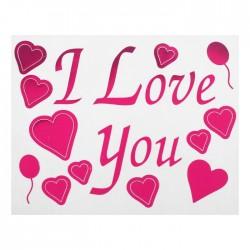 """Наклейка на полимерные шары """"Я тебя люблю"""", сердца, цвет розовый"""