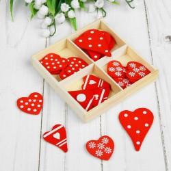 """Наклейки декоративные """"Сердечки"""", в деревянной коробочке"""