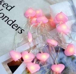 гирлянда Сердечки розовые 1,5м х 3,5 см х 10 ламп от батареек