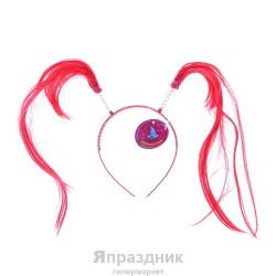 """Карнавальный ободок """"Хвостики"""" длинные локоны, цвета МИКС"""