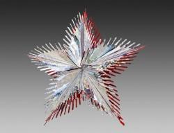 Звезда из фольги ЛУЧИСТЫЙ ЦВЕТОК голографическая, серебряная с красным контуром, 40 см, NV Traiding