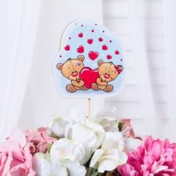 """Топпер """"Мишки с сердцем"""" с наклейкой, 9х9 см 4136626"""