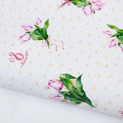Бумага упаковочная глянцевая «Розовые тюльпаны», 70 × 100 см 2887320