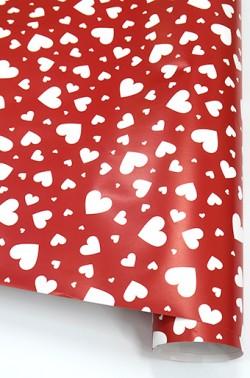 Упаковочная бумага (0,7*1 м) Мозаика сердец, Красный, 10 шт.