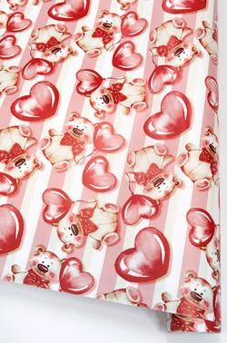 Упаковочная бумага (0,7*1 м) Плюшевые мишки с сердечками, Розовый, 10 шт.