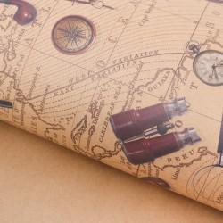 Бумага упаковочная крафтовая «Карта странствий», 50 × 70 см 2791547