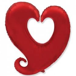 Шар Сердце витое Красный 78 см
