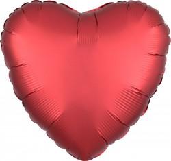 Шар Сердце Красный Ягодный Сатин Люкс 46 см