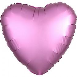 Шар Сердце Розовый Сатин Люкс 46 см