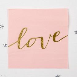 """Салфетки бумажные """"Любовь"""" 33х33 см, набор 16 шт, цвет розовый 4327969"""