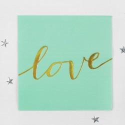 """Салфетки бумажные """"Любовь"""" 33х33 см, набор 16 шт, цвет бирюзовый 4327966"""