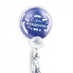 """Воздушный шар, 36"""", с тассел лентой, синий"""