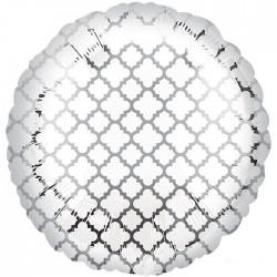 А 18 Круг Узор на серебре / White & Silver Quatrefoil S30 / 1 шт (США)