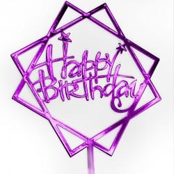 Топпер в торт, Happy Birthday, Фуше, 1 шт.