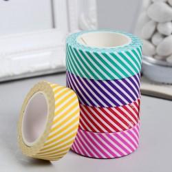 """Клейкая лента бумага """"Полоски диагональ"""" набор 6 шт ширина 1,5 см намотка 5 метров 3776662"""