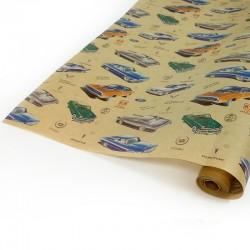 Упаковочная бумага Крафт 40гр (0,72 х 10 м) Автомобили ретро, 1 шт