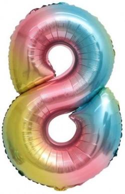 Шар Мини-цифра 8 Нежная радуга Градиент 41см