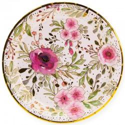 Тарелки (7''/18 см) Акварельные цветы, Белый/Золото, 6 шт.
